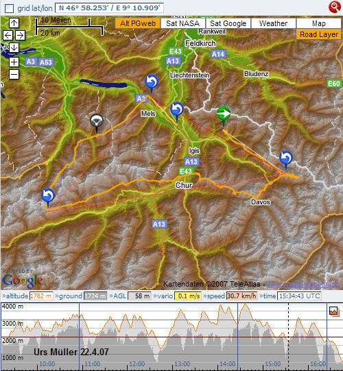 Streckenflug Urs Mller in Fanas 2007